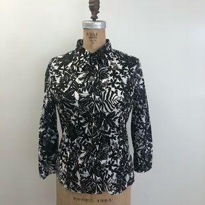 Liz Claiborne Black White Tropical Print Button Up